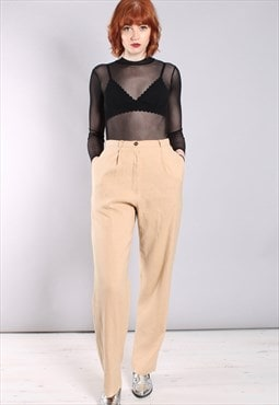 Vintage 80s Beige Linen High Waisted Lined Trousers