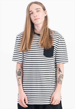 STRIPE T-SHIRT IN BLACK AND WHITE WITH CHEST POCKET DETAIL