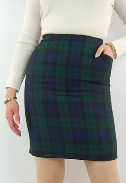 Vintage tartan print plaid check high waisted pencil skirt