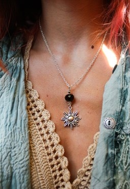 Silver Sun & Black Crystal Necklace