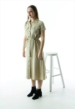 Short Sleeve Shirt Dress / Beige Hemp Dress