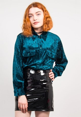 VINTAGE 90'S DEEP GREEN CRUSHED VELVET SHIRT