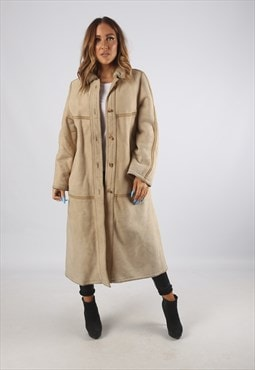 Vintage Sheepskin Suede Shearling Coat Long UK 12 M (94C)