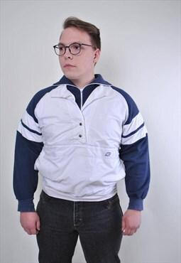Vintage white men sport anorak jacket With striped sleeve