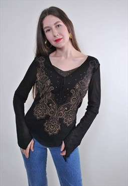 Abstract print women black evening ethno blouse