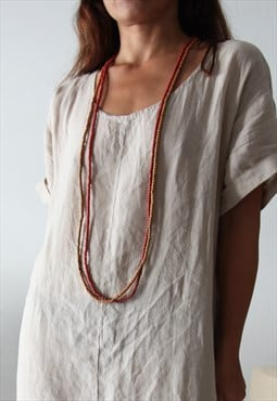 Wood beaded terracotta/orang long necklaces