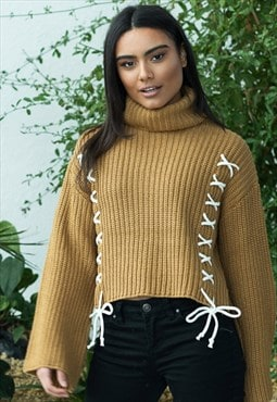 Tanned turtle neck knit with cross lace detail