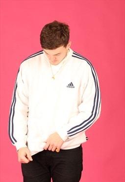 White/Navy 3 Stripe Adidas Crewneck Sweatshirt