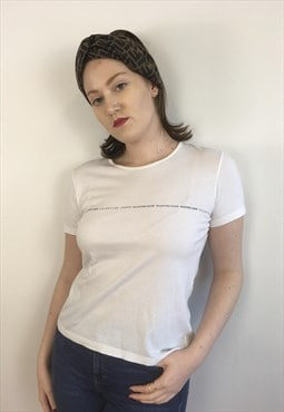 Womens Valentino jeans white tshirt top with writing detail