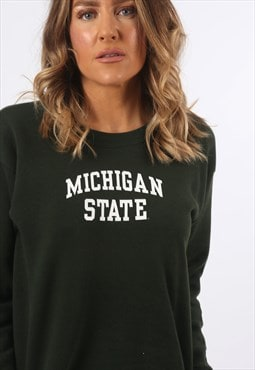 Sweatshirt Jumper MICHIGAN Print Logo Vintage UK 8  (DG3C)