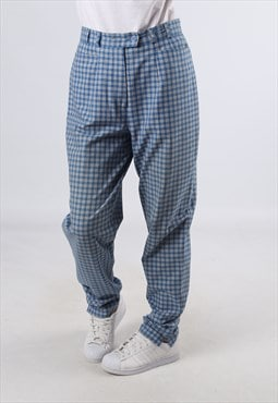 High Waisted Trousers Tartan Checked Wide Tapered UK M (J2A