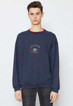 Vintage Blue WILD NATURE Crew Neck Pullover Sweatshirt