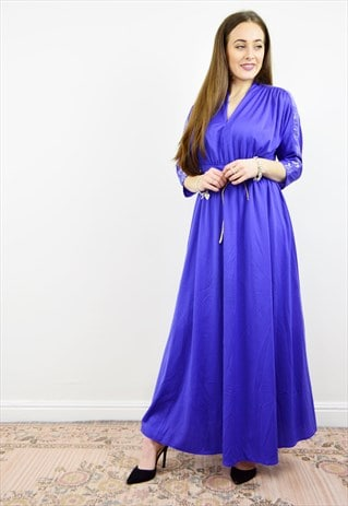 VINTAGE 80S BLUE BATWING EMPIRE WAIST EVENING DRESS