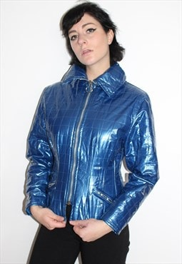 90s Blue PVC Zip Up Jacket
