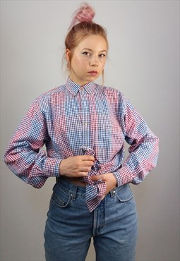 Vintage 90's Gingham Checks Oversized Button-up Blouse