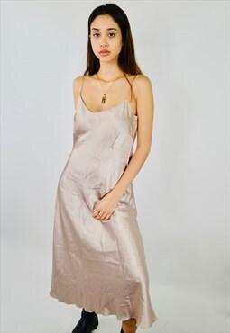Vintage Gold Satin Maxi Slip Dress