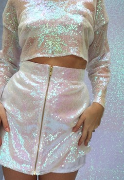 White Iridescent Sequin High Waisted Skirt With Gold Zip