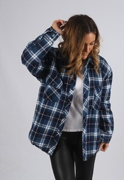 Vintage Checked Shirt Oversized Winter Quilt Lined  (XED)