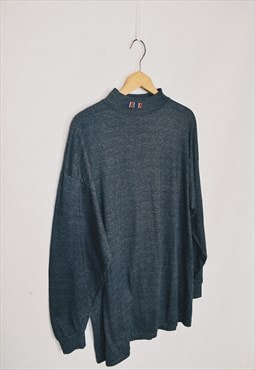 Vintage 90s Giorgio Grey Embroidered Collar Long Sleeve Top