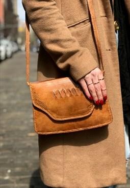 Vintage Light Brown Leather Crossbody Flap Bag