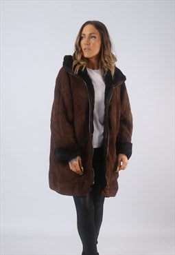 Vintage Suede Sheepskin Shearling Coat Hooded UK 16 XL (B3E)