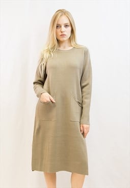 Fine knit oversized relaxed fit tunic jumper dress in beige
