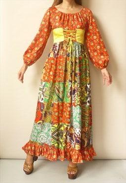 70s Vintage Hippie Patchwork Print Bohemian Folk Maxi Dress