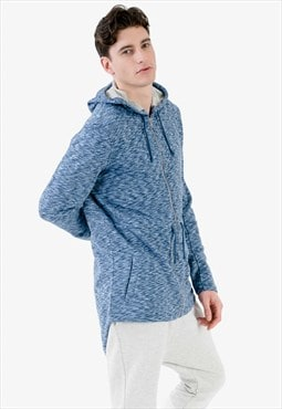 Zipped Longline Hoodie in Multi Blue with Side Pockets