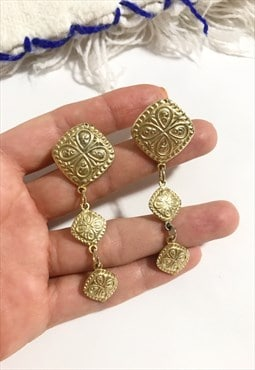 1990's Gold Drop Earrings