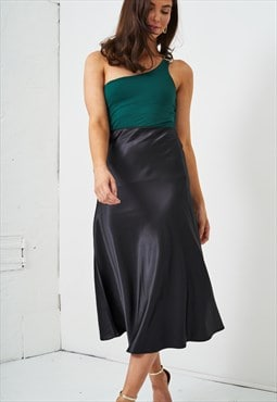Sabina Black Satin Slip Midi Skirt