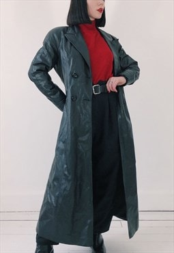 90s Vintage Black Faux PVC Leather Long Trench Mac Coat