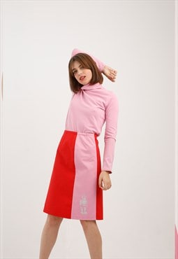 Vintage Color Block Robot Skirt