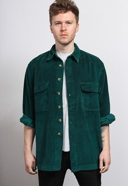 Vintage Corduroy Cord Shirt Green