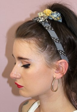 90s Grey Customised Bow Metallic Grey Headband Festival