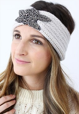 Crea, Silver Beaded Ribbed Knitted Turban Headband