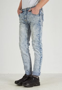 Vintage Blue CHEAP MONDAY Acid Washed Denim Jeans