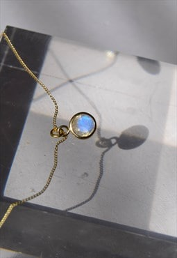 9ct gold necklace, Rainbow moonstone necklace