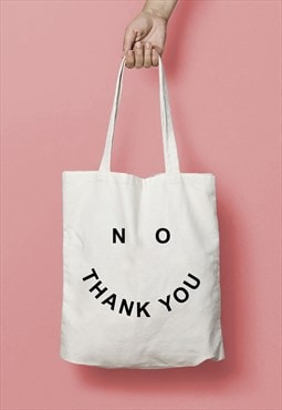 NO THANK YOU Smiley Face Slogan Print Tote Bag Shopper White