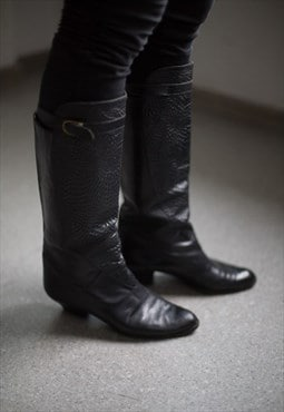 Vintage 80's Black Leather Boots