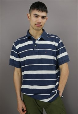 Vintage Striped Tommy Hilfiger Polo Shirt in Blue with Logo