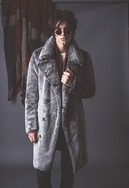 Mens Faux Fur Long Coat