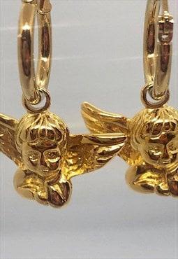 Cherub gold plated earrings