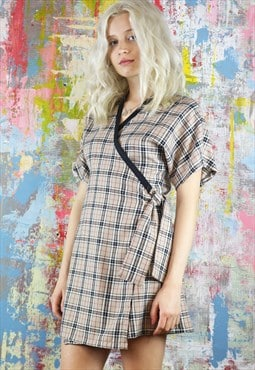 Mini Wrap Dress in beige check tartan