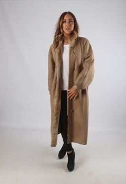 Vintage Sheepskin Suede Shearling Coat Long UK 16 (C9BR)