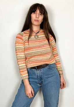 Vintage 90's Orange Stripe Patterned Jumper