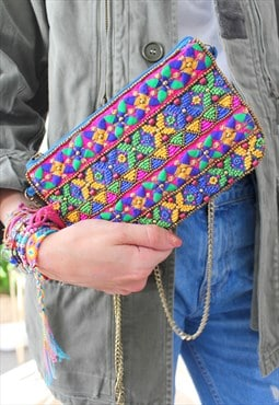 Bag ethnic pearls multicolor