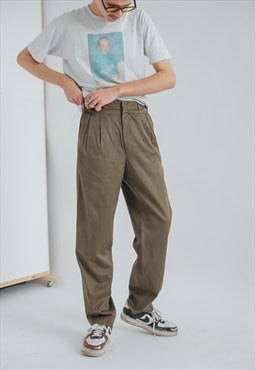 Vintage Straight Fit Classic Trousers in Brown
