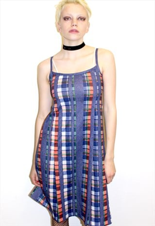 90S VINTAGE STRAPPY MIDI DRESS PRINTED BLUE GRID CHECK FUN