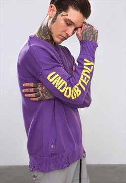 Drop shoulder ripped knitted top sweater hip hop - purple