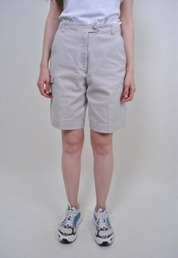 80s classic beige cargo shorts, vintage cotton worker shorts